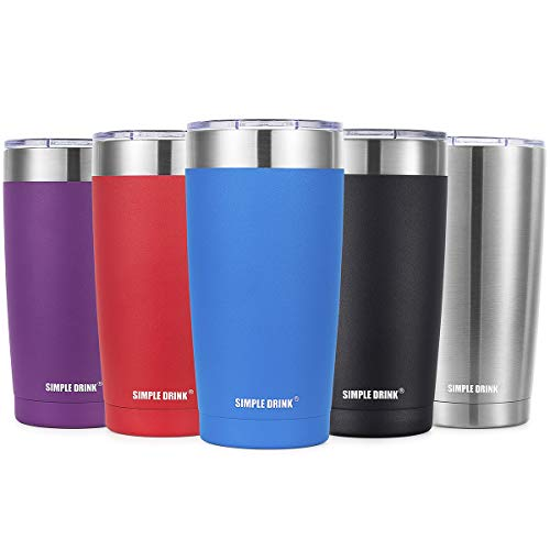 SIMPLE DRINK 20oz Stainless Steel Insulated Tumbler with Splash-Proof Lid - Double Wall Travel Coffee Mug - Works Great for Ice Drink & Hot Beverage (Caribbean Blue 20 Oz)