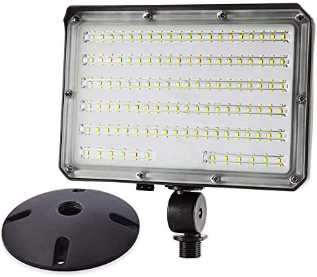 LED Flood Light 80W 10400LM 800W HID Equivalent Photocell Dusk to Dawn Outdoor with 180 Adjustable Knuckle Mount,with Base for Wall Mount Daylight 5000K IP65 Waterproof ETL Listed for Garden Yard