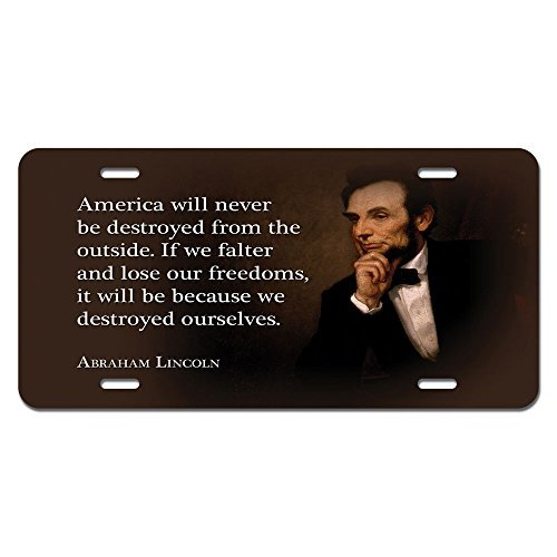 zaeshe3536658 America Destroyed Freedom - Abraham Lincoln Republican Conservative Novelty Metal Vanity License Tag Plate Auto Tag 12 x 6 inch. by zaeshe3536658