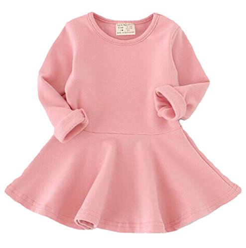 Fayele Baby Girl's Long Sleeve Cotton One-piece Dress, 6-12 Months Pink (Long Sleeve Baby Girl Dress)