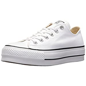 Converse Women's Lift Canvas Low Top Sneaker, White/Black/White, 7.5 M US