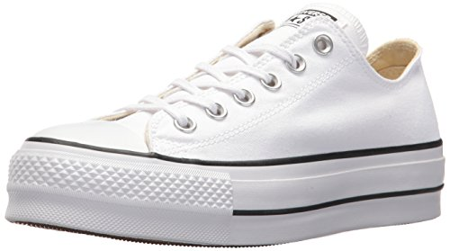 Converse Women's Lift Canvas Low Top Sneaker, Black/White, 8 M - Platform Double Top