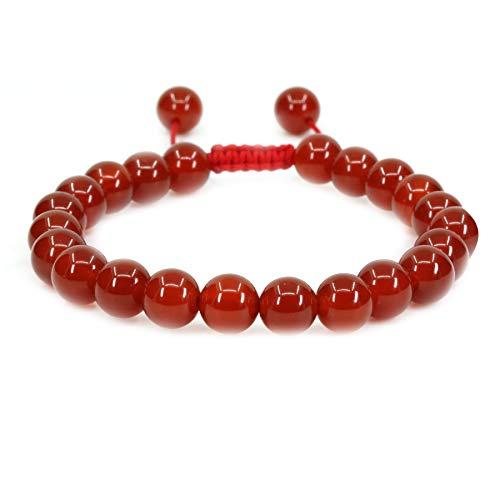 (Natural AA Grade Red Agate Gemstone 8mm Round Beads Adjustable Braided Macrame Tassels Chakra Reiki Bracelets 7-9 inch Unisex)