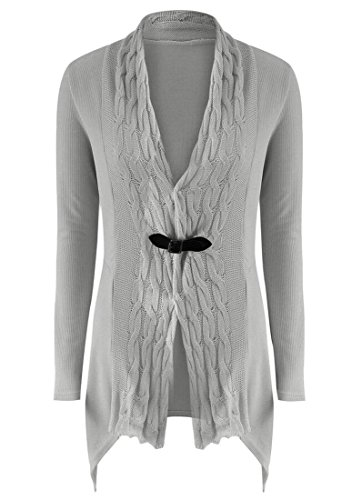 M&S&W Women's Long Sleeve Toggle Button Open Front Wraps Cardigan Sweater Top Gery S (Button Cardigan Toggle Sweater)