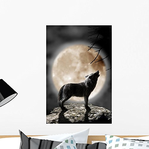 Wallmonkeys Wolf Howling Moon Wall Mural Peel and Stick Graphic (24 in H x 16 in W) WM236821