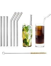 HALM Glas Strohhalme Wiederverwendbar Trinkhalm - 6 Stück, 2 Größen - Glastrinkhalme + plastikfreie Reinigungsbürste - Spülmaschinenfest - Nachhaltig Glastrinkhalme Glasstrohhalme - Cocktail Smoothie