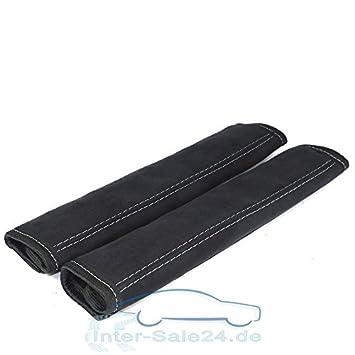 L&P A0132 Imbottitura in alcantara per cintura di sicurezza, in Nero, con cuciture grigie, universali, adatta per cinture fino a max. 5 cm di
