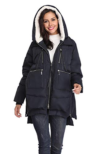 Shanghai Bund Women's Thickened Down Jacket with Hood Winter Warm Hooded Parka Coat Navy