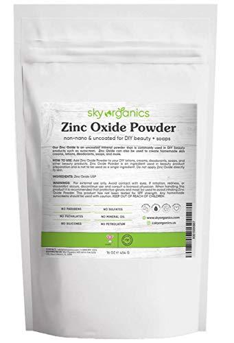 Image of Zinc Oxide Powder by Sky Organics (16 oz) Uncoated Non-Nano Zinc
