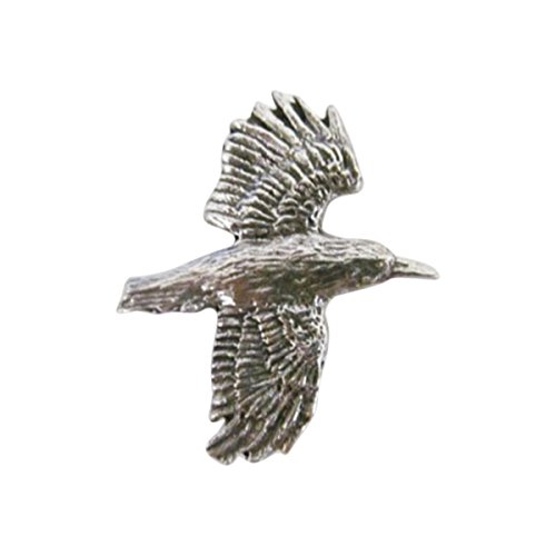 Creative Pewter Designs Pewter Raven Flying, Handcrafted Bird Lapel Pin Brooch, Antique Finish, B062 (Flying Bird Pin)