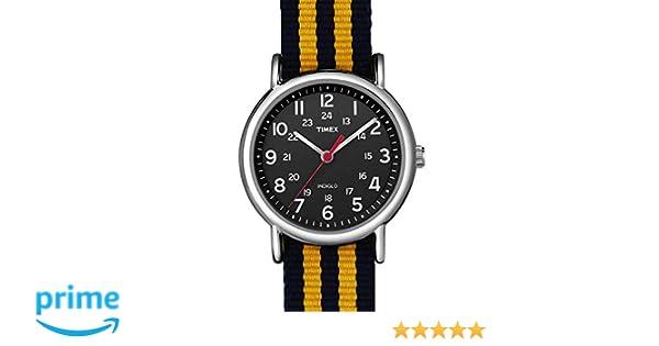 c17871bf70f7 Timex indiglo Reloj de Pulsera para Hombre Analógico de Cuarzo con Correa  de Nylon Negro y Amarillo  Amazon.es  Relojes