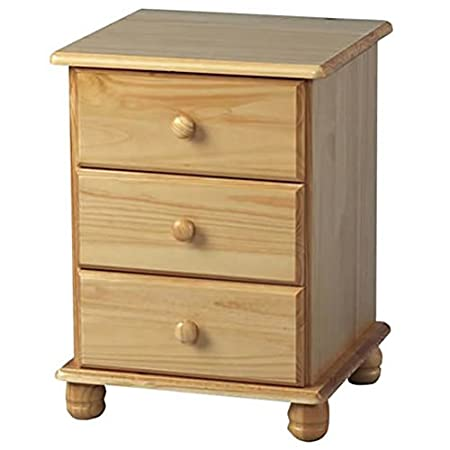 Sol Bedside Cabinet - 3 Drawers- Antique Pine - Bedside Small Table with  Storage - Sol Bedside Cabinet - 3 Drawers- Antique Pine - Bedside Small Table