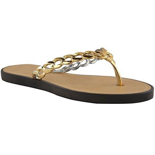 ZAFIRO BOUTIQUE Mujer Sin Cordones Espalda descubierta Correa De Cadena Inteligentes Tanga Zapatos Tipo Sandalia Moderna Negro / Oro