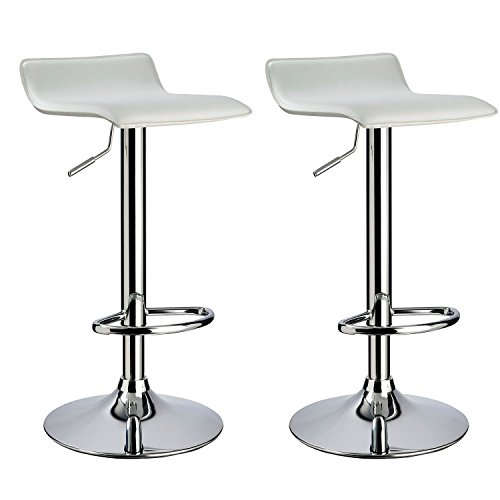 Duhome 2 PCS Black Contemporary Barstools Counter Hydraulic Bar Stool Swivel Height Adjustable Chairs Synthetic Leather