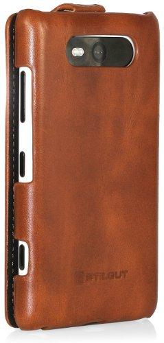 StilGut UltraSlim Funda de cuero para el Nokia Lumia 720, Rojo Marrón