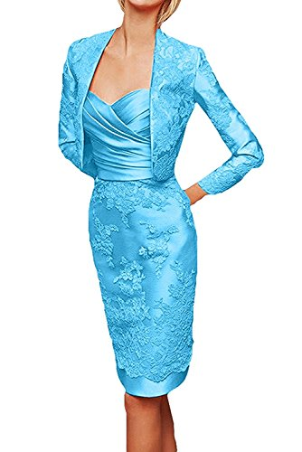 Partykleider mit mia Brautmutterkleider Knielang Braut Abendkleider Blau Etuikleider Damen Jaket Langarm La Spitze 0SqCC
