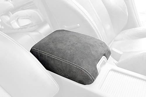 RedlineGoods armrest Cover Type 1 Compatible with Infiniti G37 (V36) 2008-13. Black Alcantara-Red Thread