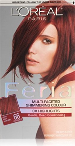 L'Oreal Paris Feria Multi-Faceted Shimmering Color, Very Rich Auburn [66] (Warmer) 1 ea (Pack of 6)