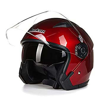 RONSHIN Autoparte Motocicleta Doble Lente Cara Abierta Capacete Motocicleta Estilo Vintage Cascos Rojo L