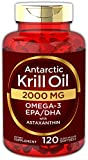 Antarctic Krill Oil 2000 mg 120 Softgels | Omega-3 EPA, DHA, with Astaxanthin