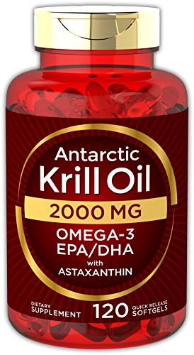 Antarctic Krill Oil 2000 mg 120 Softgels | Omega-3 EPA, DHA, with Astaxanthin Supplement Sourced from Red Krill | Maximum Strength | Laboratory Tested (Best Rated Krill Oil Supplements)
