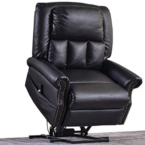 Electric Lift Chair Recliner Faux Leather,JULYOFX 330 LB Heavy Duty Infinite Position Lift Recliner Sofa Chair Lifts You Up W/ 2 Button Remote Stand Up Lift Chair W/Storage Home Theater Chair Black ()