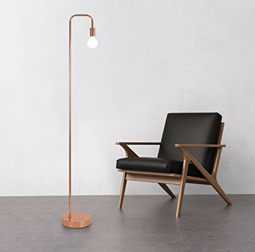 Floor Lamp for Living Room, Industrial Rose Gold Metal Reading Lamp, Contemporary Bedroom Décor, Led Bulb 4W Gifts by LA JOLIE MUSE (Image #2)