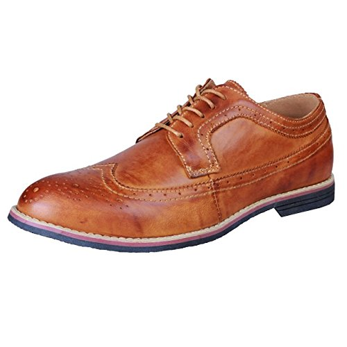 PhiFA Men's Classic Modern Comfort Genuine Leather Oxfords Wingtips Dress Shoes Lace-up US Size 10.5 - Elegant Dress Brown Leather Shoes