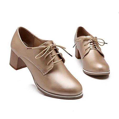 BalaMasa Girls Chunky Heels Imitated Leather Pumps-Shoes Gold UMzLG