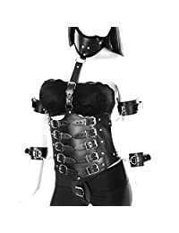 PETMHS Women Full Leather Body Harness Set Punk Gothic Lingerie Dance Rave Clothing Harnessess