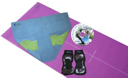 Stick-e Yoga Starter Bundle with Body-Align Mat/Towel/Socks, Pink/Blue/Black, Medium (Ladies Shoe Size 7.5-10; Men's Shoe Size 6.5-9)