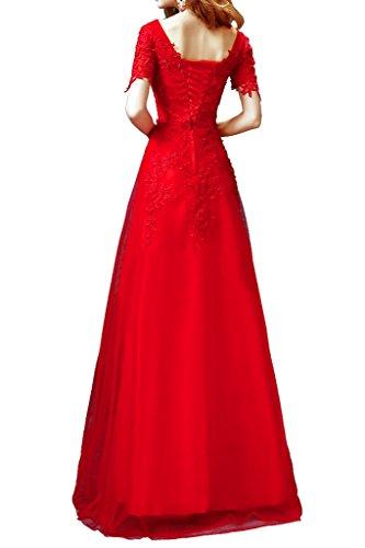 Promgirl House Damen Glamour Rot Spitze A-Linie Abendkleider Ballkleider Cocktailkleider Lang mit Aermel
