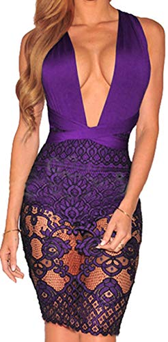 Sexy Dresses for Women Summer Bodycon V Neck Bandage Lace See Thru Pencil Outfits Cocktail Sparkly Backless for Party Club (Medium, Purple A)
