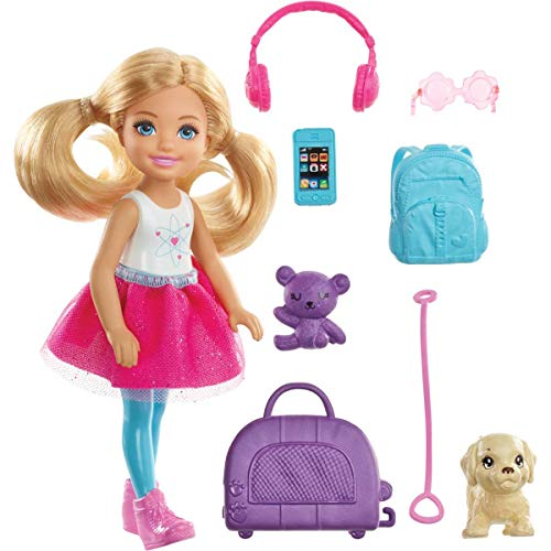 Chelsea Travel Doll, Blonde, with Puppy, Carrier & Accessories, for 3 to 7 Year Olds