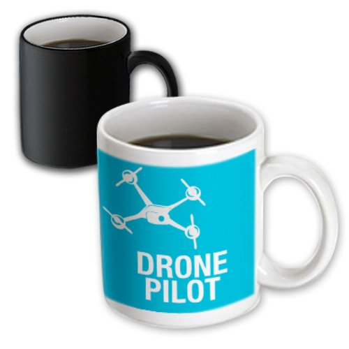 Price comparison product image 3dRose mug_179914_3 Blue Drone with Uav Pilot Magic Transforming Mug, 11 oz, Black/White
