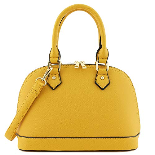 Zip-Around Classic Dome Satchel (Mustard)