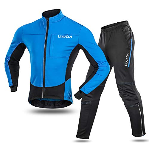 Lixada Men's Cycling Jersey Suit Waterproof Thermal Fleece Long Sleeve Mountain Bike Riding Softshell Jacket with Padded Pants Trousers (Best Waterproof Mountain Bike Trousers)