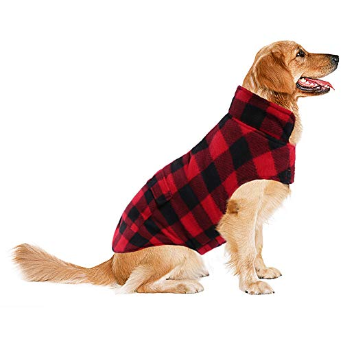 ASENKU Dog Winter Coat, Dog Fleece Jacket Plaid Reversible Dog Vest Waterproof Windproof Cold Weather Dog Clothes Pet Apparel for Small Medium Large Dogs Red XXXL