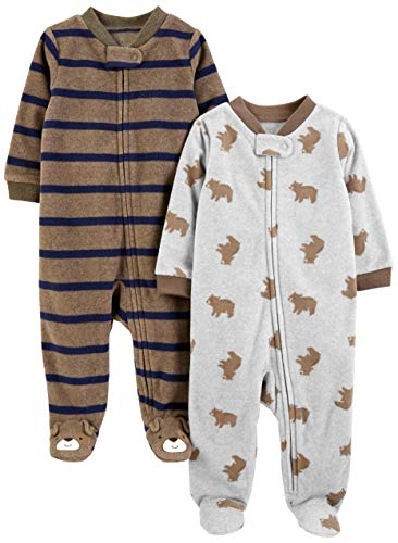 Simple Joys by Carter's Boys' 2-Pack Fleece Footed Sleep and Play, Bear/Brown Stripes, 6-9 Months