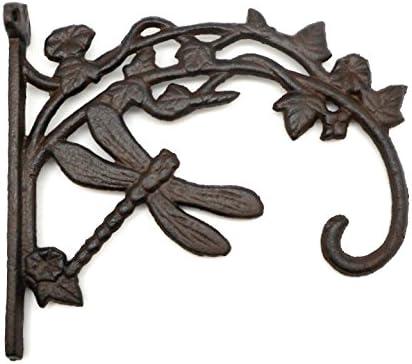 "Cast Iron Rustic Garden PLANT HANGER Hook Hummingbird 10/"" x 9/"" Antique Styl"