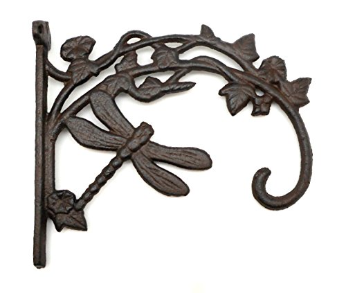 Cast Iron Rustic Brown Dragonfly Plant Hanger Hook, Bracket Style Hanging Plant ()
