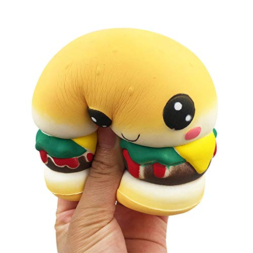 """L.DONG Squishies Hamburger 4.1"""", Jumbo Scented Slow Rising Squishy Toys Kawaii Stress Relief Giant Squeeze Toys Party Favor Funny Cute Decoration Toys for Kids and Adults]()"""