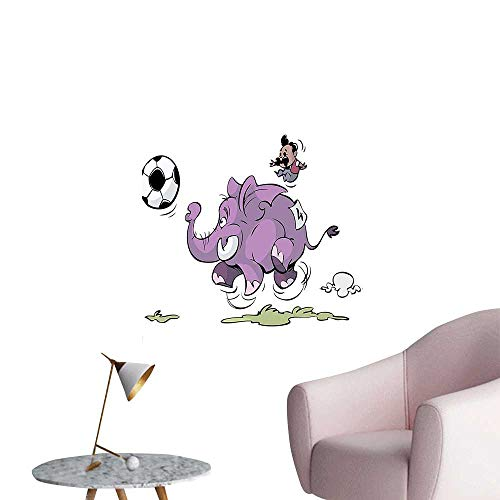 (Wall Decor for Home Living Room Elephant is Playing Soccer with A Kid Mario Moustache Sports Football Print Safe Painted Wall Decoration,32