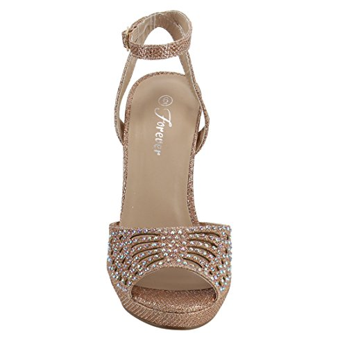 Rhinestone Stiletto Sandals Gold Platform Wrapped FOREVER Rose Cut Womens Heel FQ47 Out Exw6fgOq