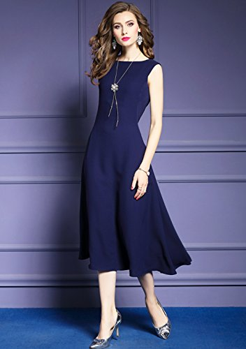 Solid Casual Dress cotyledon A Line Color Women`s Sleeveless Dresses Bqn6IS