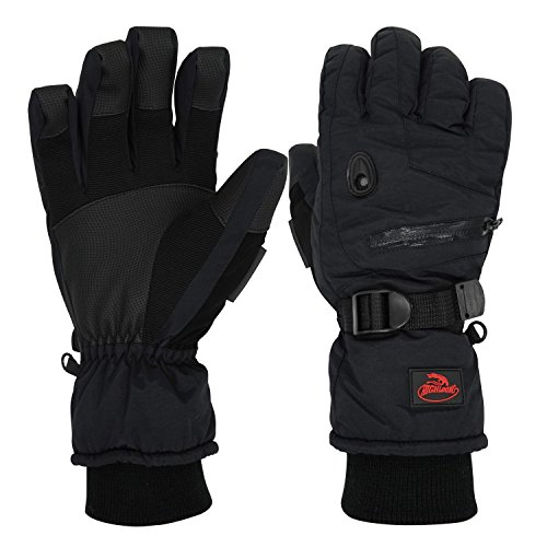 Men Waterproof Thinsulate Ski Snowboard Gloves Winter Warm Gloves Black (XL)
