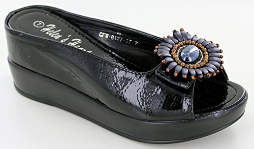 Helens Heart Bling Sparkle Metallic Casual Slide with Hidden Wedge, Assorted Colors -17 Black