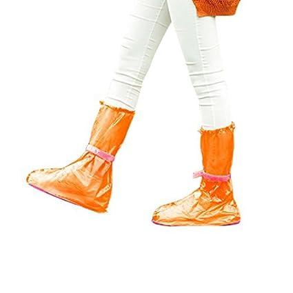 eDealMax 1 par rosa naranja reutilizables antideslizantes botas de lluvia zapatos Overshoes protector de la cubierta