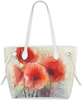 LONGYUU Schulter-Einkaufstasche Blutrote Farbe Blumenmohn Wochenend-Einkaufstasche Weiche Umhängetasche Große Kapazität Wasserdicht Mit Haltbarem Griff
