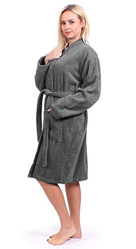 Turkuoise Women's Terry Cloth Robe 100% Premium Turkish Cotton Terry Kimono Collar (Medium, Gray) (Robe Cotton Womens)